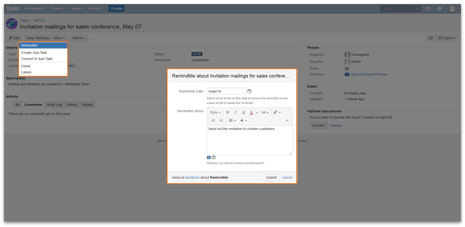 How to Set Individual Reminders - RemindMe for Jira