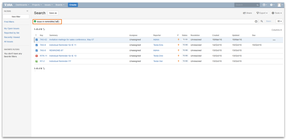 Search and manage your reminders with JQL.