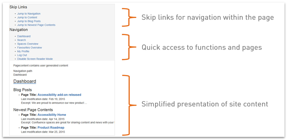 The Screen Reader Mode Offers Quick Access to Functions and Pages - Accessibility for Confluence
