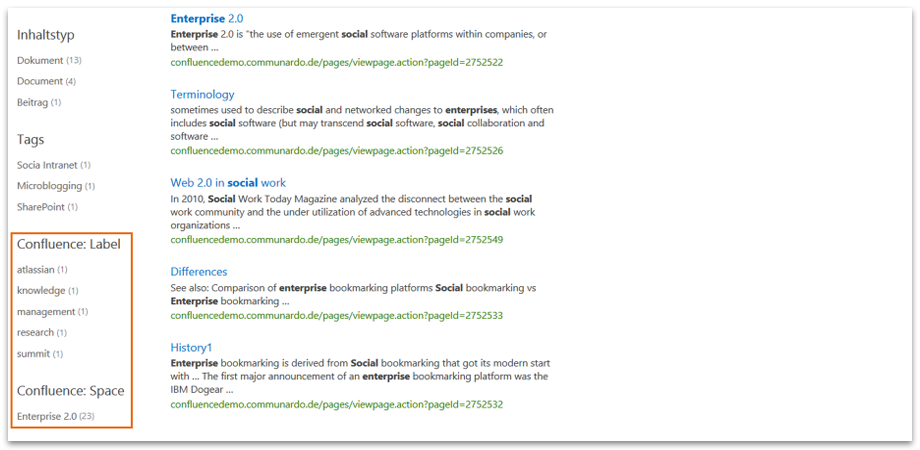 Refiner for Confluence Labels and Spaces - Connector for SharePoint Search