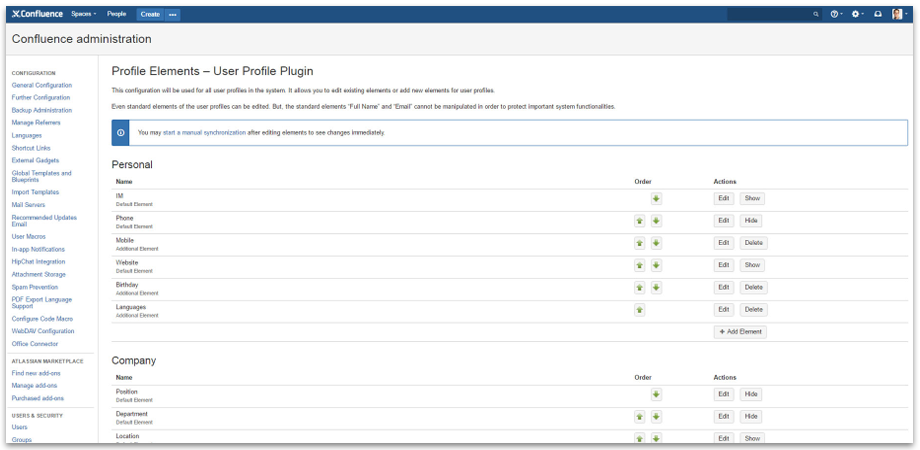 Administration and configuration with User Profiles for Confluence