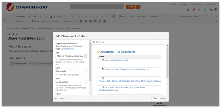 Use the Confluence Macro in order to select the relevant SharePoint documents for your individual Confluence Page.