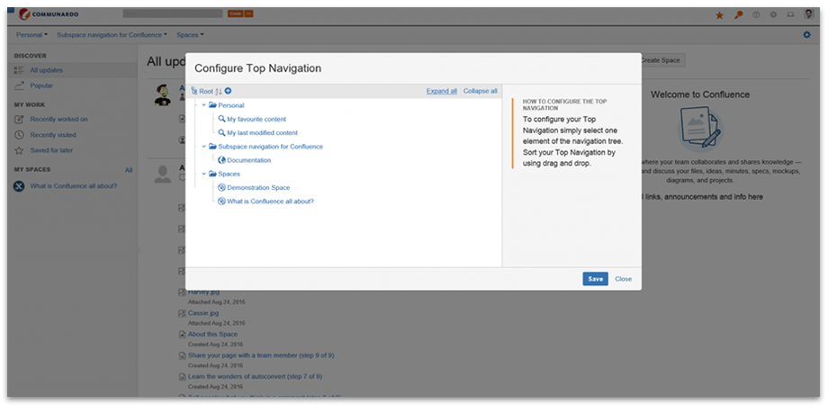 Edit Navigation - SubSpace Navigation for Confluence