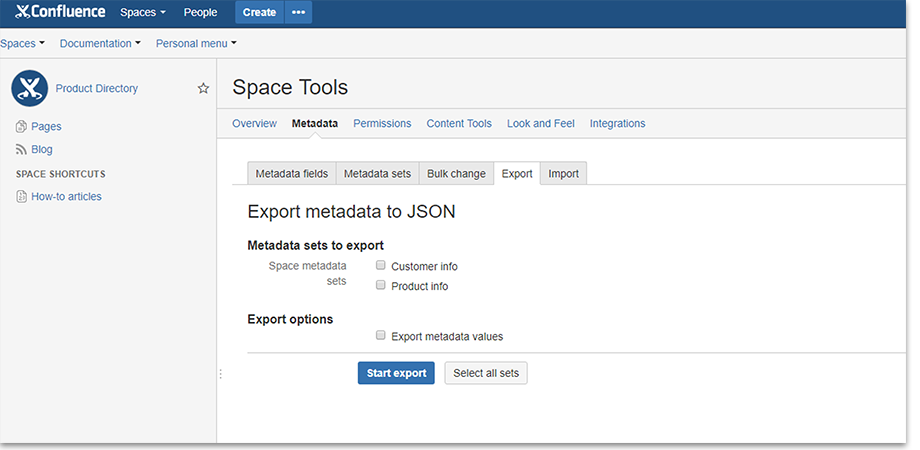 Exporting predefined metadata sets to other spaces