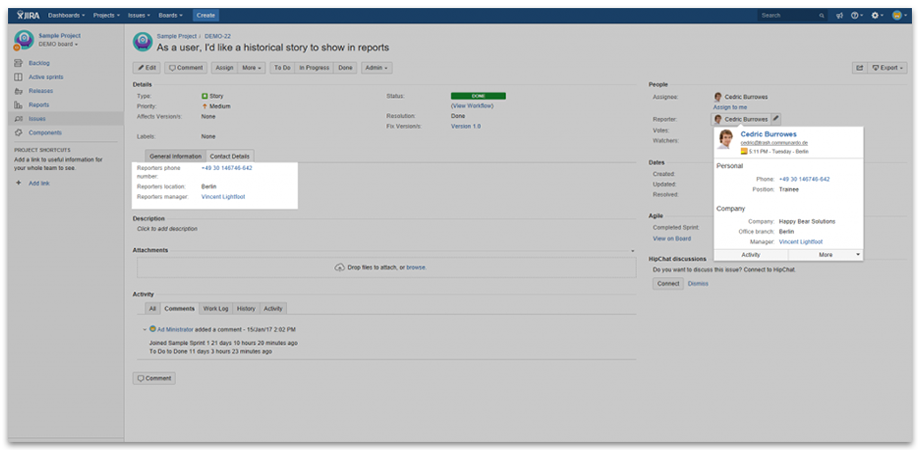 Contact data shown with User Profiles for JIRA