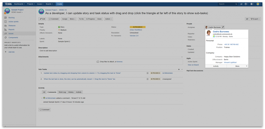 hover profile user profiles for JIRA