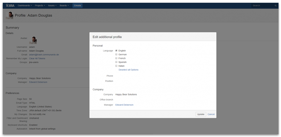 User Can Add Individual Details to Their Profile - User Profiles for Jira