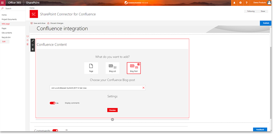 Embed Confluence blog posts in SharePoint pages