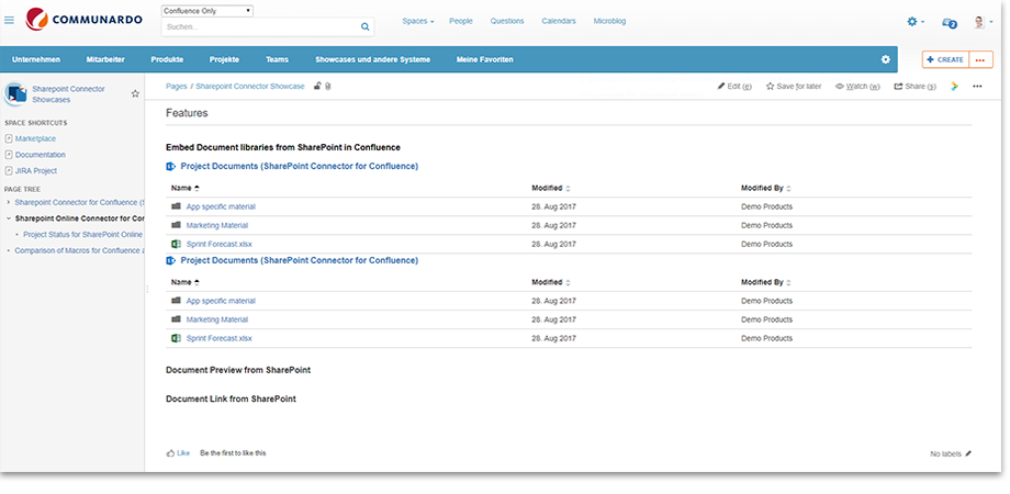 Embed document libraries from SharePoint Online in Confluence