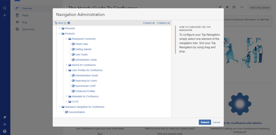 SubSpace Navigation for Confluence Cloud Administration menu