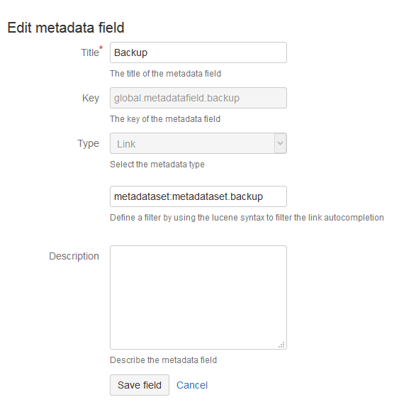 Edit Metadata Field