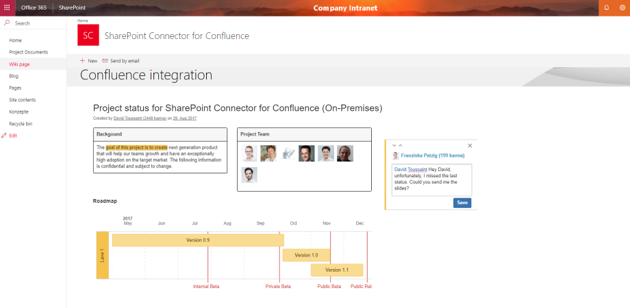 Comment on embedded pages in SharePoint just as you would in Confluence
