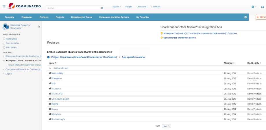 The embedded document libraries from SharePoint Online can be browsed in Confluence.