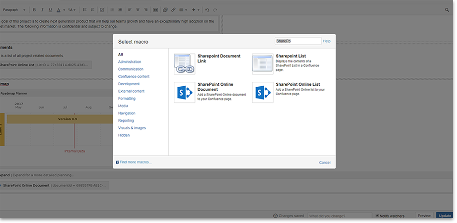 Use the SharePoint and the SharePoint Online Connector simultaneously to embed documents and lists in Confluence.