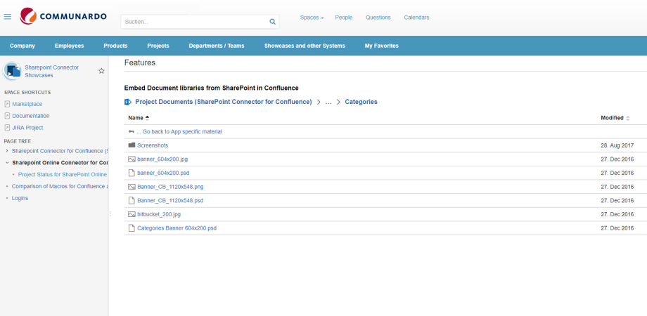 Embed document lists from SharePoint Online in Confluence.