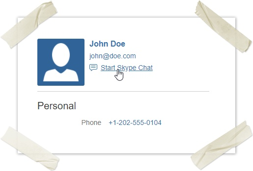 User Profile Start Skype Chat