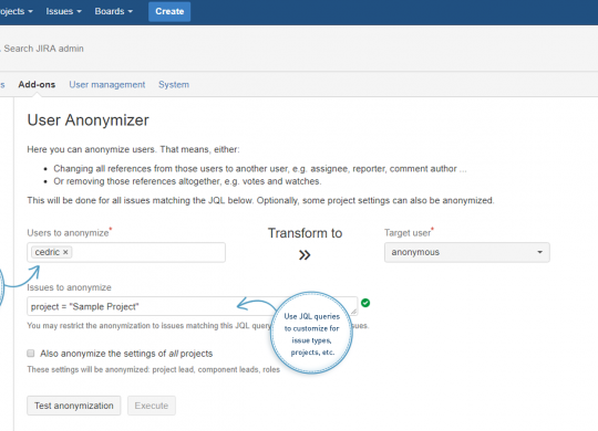 Anonymize Personal Data - User Anonymizer for Jira
