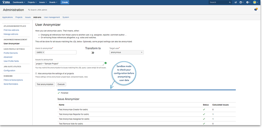 Sandbox Mode - User Anonymizer for Jira