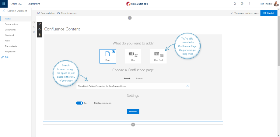 Confluence in Sharepoint edit Sharepoint site SharePoint Online Connector 1.1