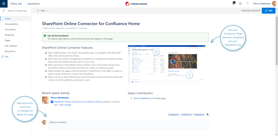 Confluence in Sharepoint page Sharepoint site SharePoint Online Connector 1.1