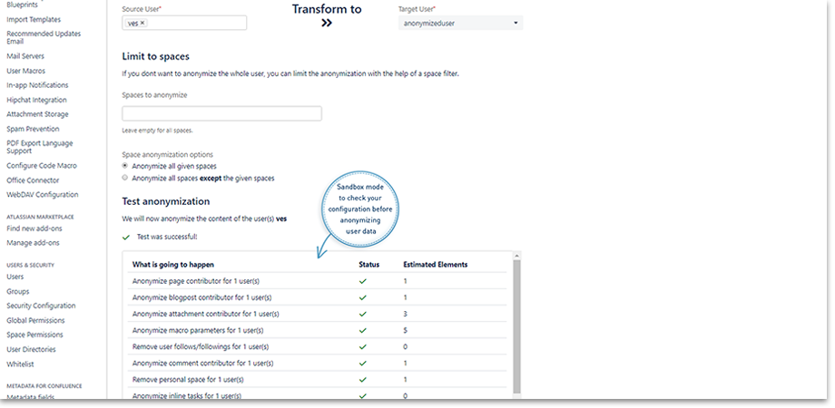 sanbox mode User Anonymizer for Confluence