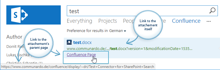 Connector for SharePoint Search 1.9 - Display parent pages