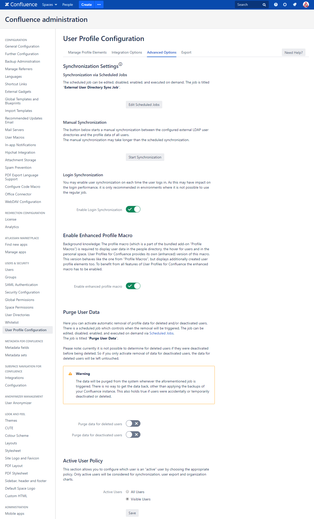 Advanced Configuration User Profiles for Confluence 3.0