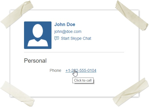 User Profiles for Confluence Click to Call
