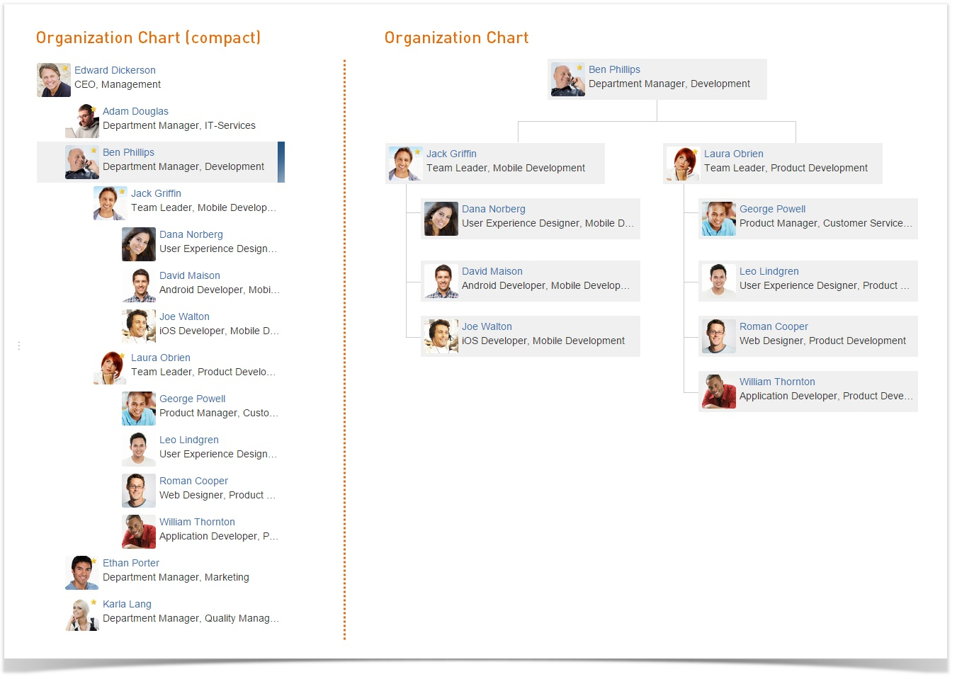 User Profiles for Confluence Organization Chart