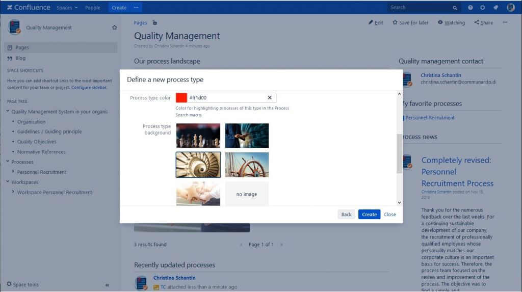 Create Content with Process Management Suite for Confluence