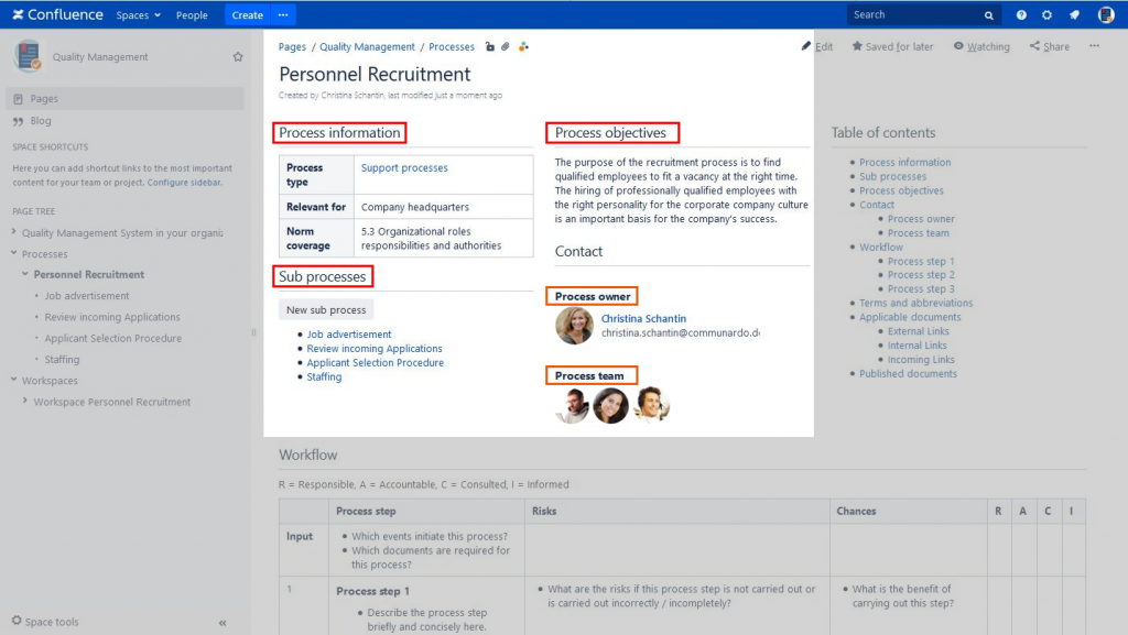 Processes (highlighted) in Process Management Suite for Confluence