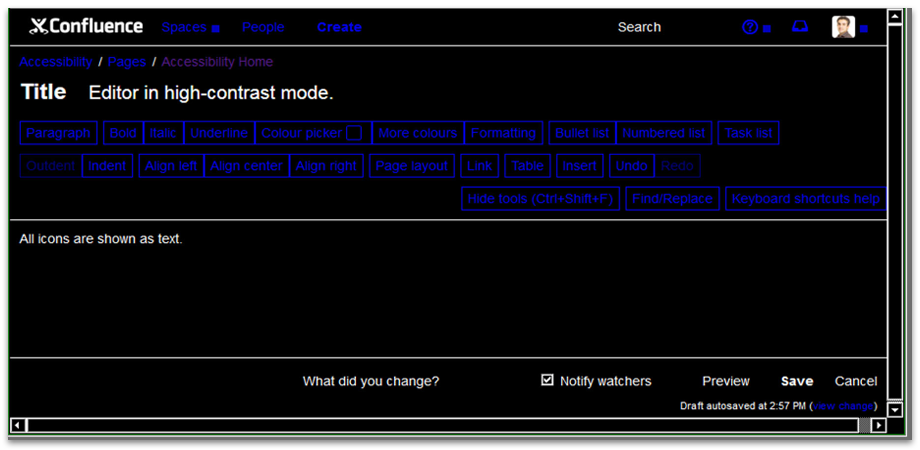 high-contrast mode Acc