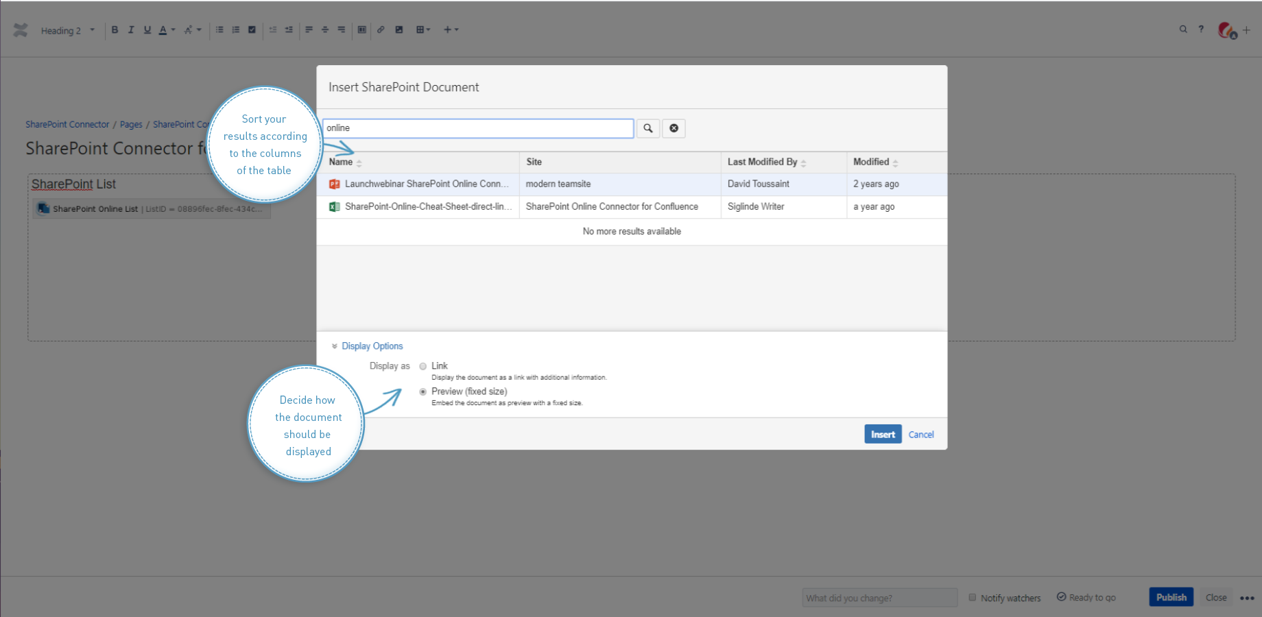 Insert Documents with SharePoint Connector for Confluence