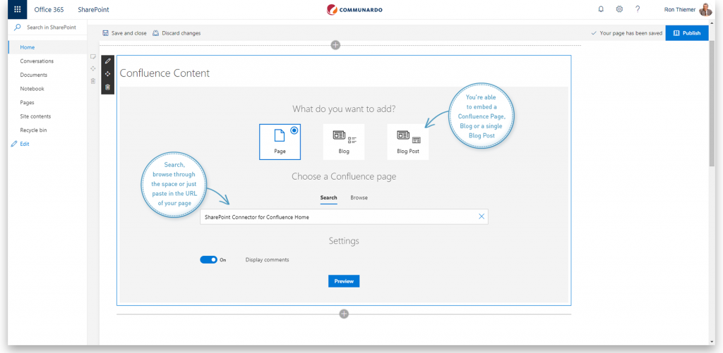 Embed Confluence Pages or Blog Posts In SharePoint