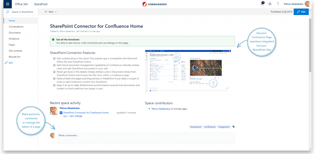 Integrate a Confluence page in SharePoint - bi-directional synchronization syncs the content in both platforms.