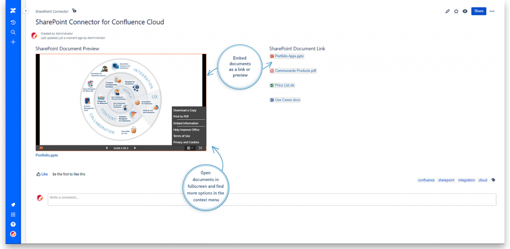 Embed SharePoint Documents in Confluence Cloud