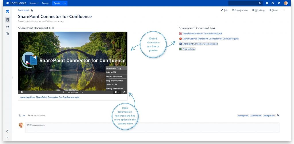 Embed SharePoint Documents as link or fullscreen