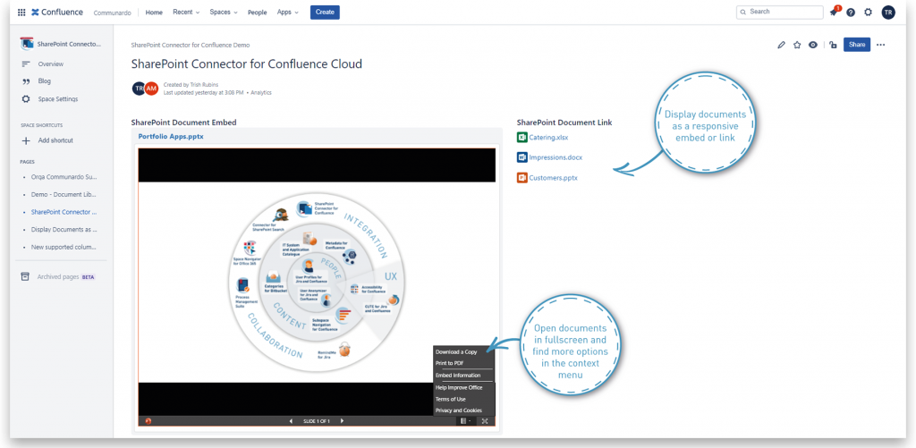 Integrate your SharePoint documents in your Confluence Cloud as a preview or link.