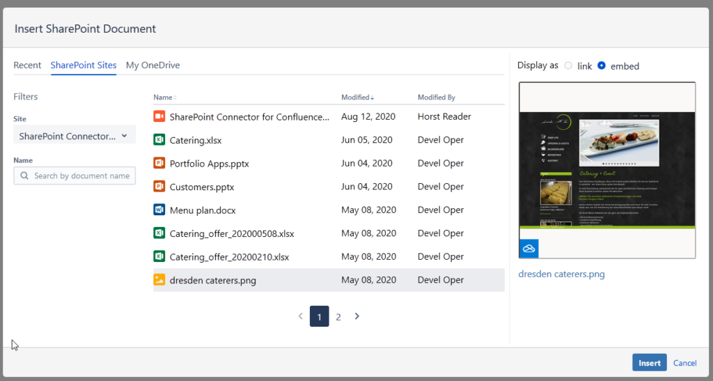 SharePoint Connector for Confluence Cloud - SharePoint Document Macro - SharePoint Sites