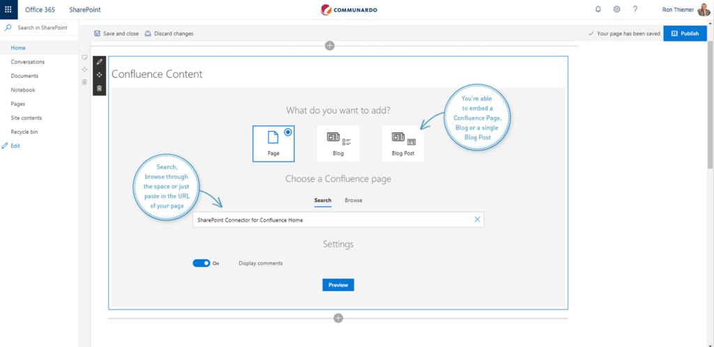 embed confluence content into sharepoint