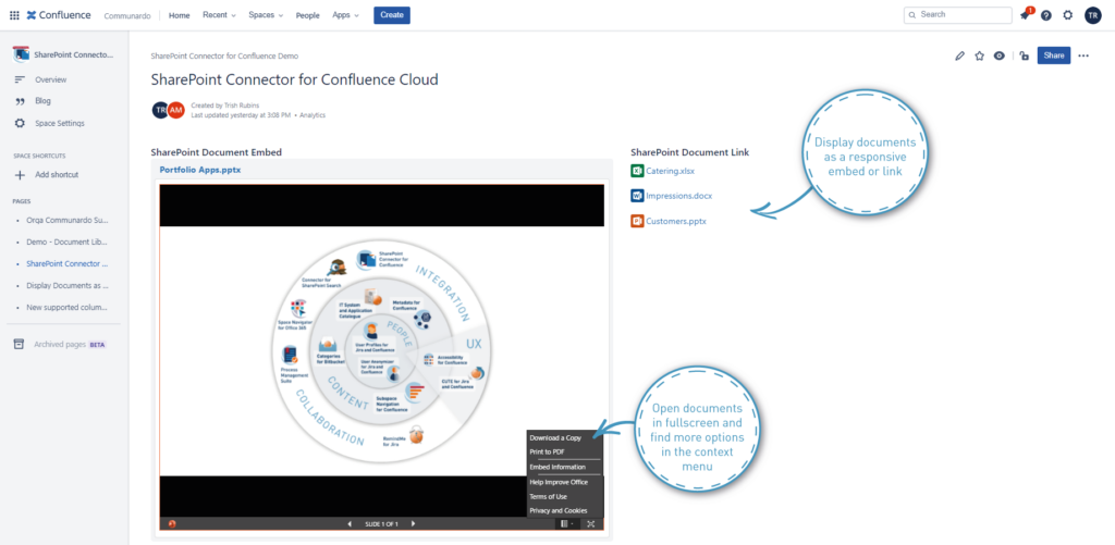 sharepoint documents in confluence