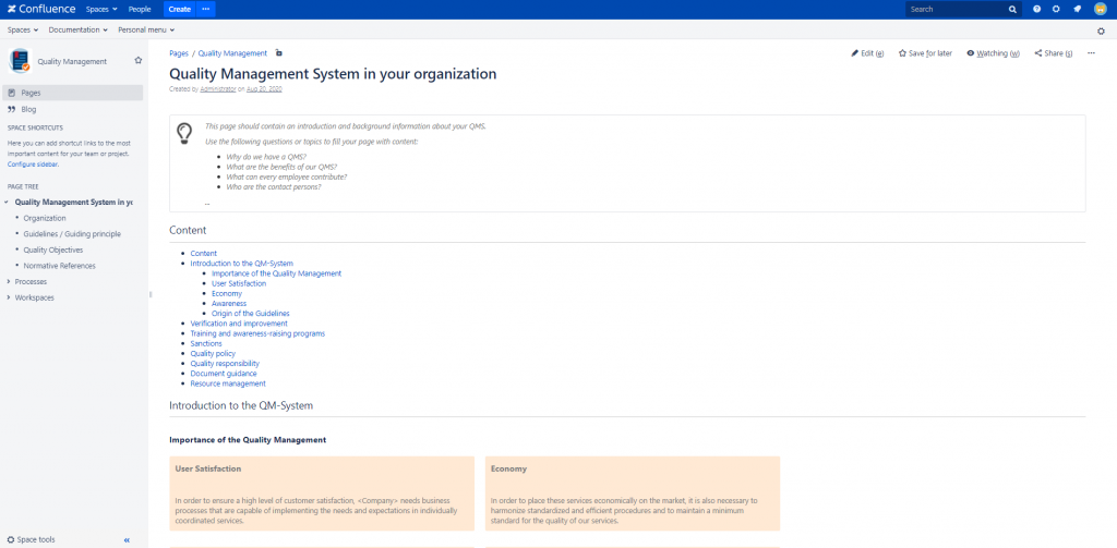 Quality Management System templates delivered with the Process Management Suite for Confluence